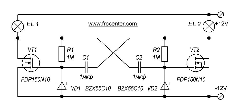 Мультивибратор на полевых транзисторах