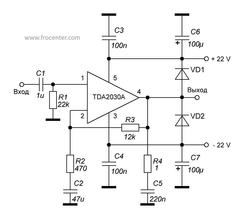 TDA2030A схема усилителя