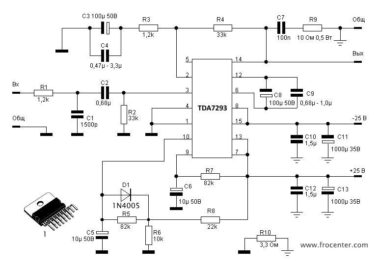 TDA7293 схема усилителя