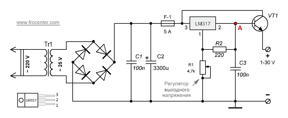 Схема блока питания на LM317